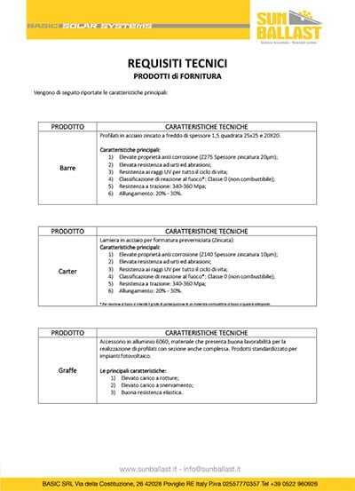 Dichiarazione Requisiti Tecnici - Prodotti di Fornitura