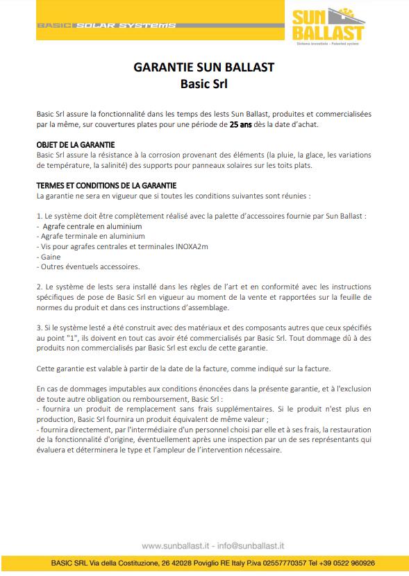 Certificat de garantie Sun Ballast