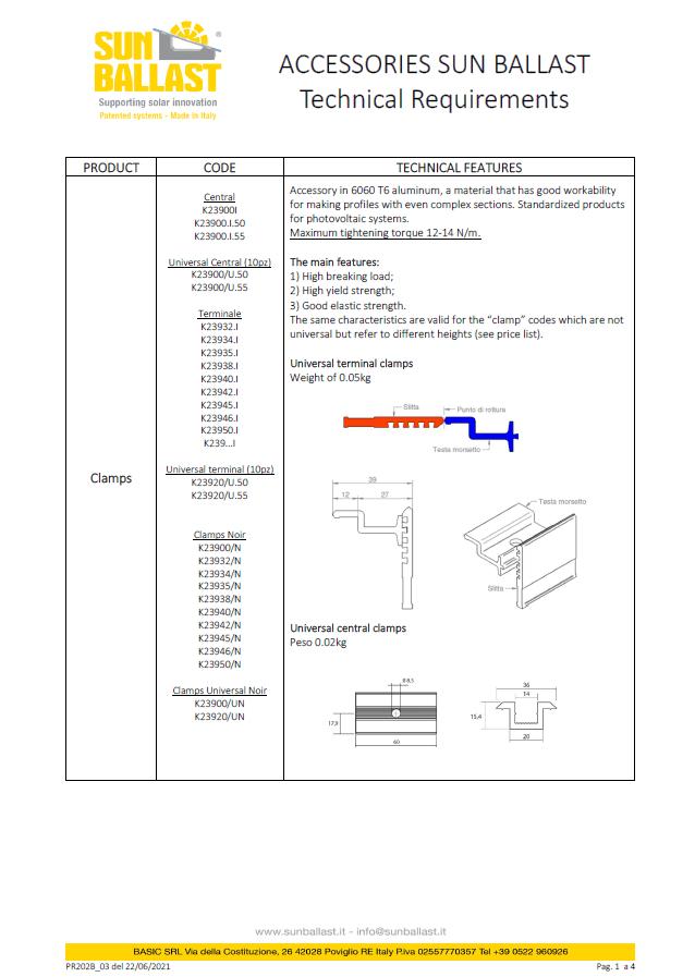 Technical characteristics of Sun Ballast accessories