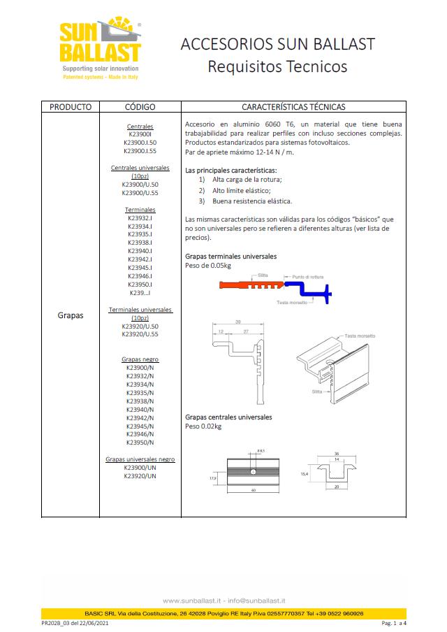 Requisitos técnicos Sun Ballast