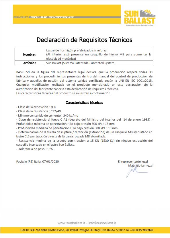 Declaración de Requisitos Técnicos