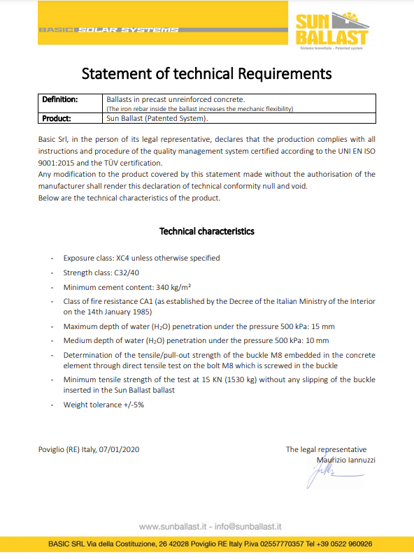 Statement of technical Requirements
